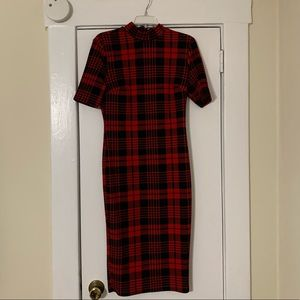Red and black Plaid Midi Dress Size Small